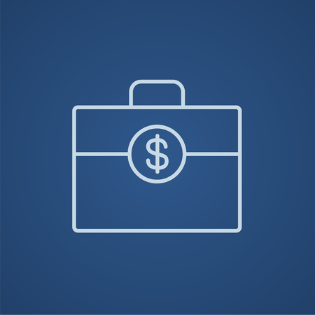Suitcase with dollar symbol line icon for web, mobile and infographics. Vector light blue icon isolated on blue background.