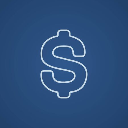 price gain: Dollar symbol line icon for web, mobile and infographics. Vector light blue icon isolated on blue background.