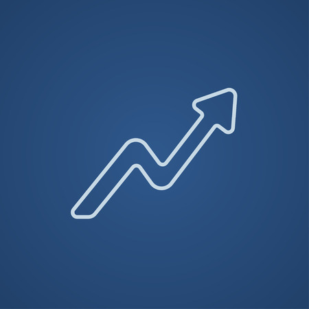 upward movements: Arrow upward line icon for web, mobile and infographics. Vector light blue icon isolated on blue background.