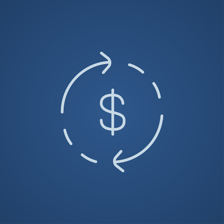refresh rate: Dollar symbol with arrows around line icon for web, mobile and infographics. Vector light blue icon isolated on blue background.
