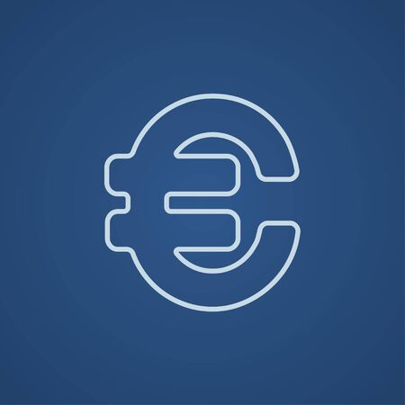price gain: Euro symbol line icon for web, mobile and infographics. Vector light blue icon isolated on blue background.
