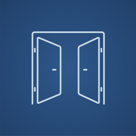 double entry: Open doors line icon for web, mobile and infographics. Vector light blue icon isolated on blue background. Illustration