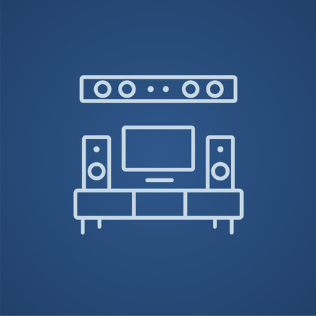 flat screen tv: TV flat screen and home theater line icon for web, mobile and infographics. Vector light blue icon isolated on blue background. Illustration