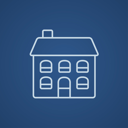 two storey house: Two storey detached house line icon for web, mobile and infographics. Vector light blue icon isolated on blue background.