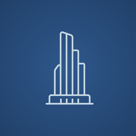 multi storey: Skyscraper office building line icon for web, mobile and infographics. Vector light blue icon isolated on blue background. Illustration