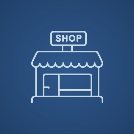 Shop store line icon for web, mobile and infographics. Vector light blue icon isolated on blue background. Illustration