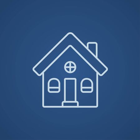 detached: Detached house line icon for web, mobile and infographics. Vector light blue icon isolated on blue background. Illustration