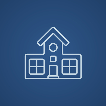 Building line icon for web, mobile and infographics. Vector light blue icon isolated on blue background.