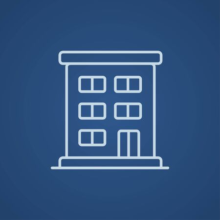 cemented: Residential building line icon for web, mobile and infographics. Vector light blue icon isolated on blue background.