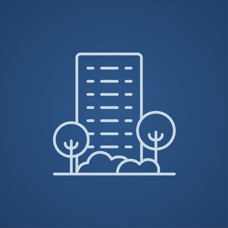 multi storey: Residential building with trees line icon for web, mobile and infographics. Vector light blue icon isolated on blue background.