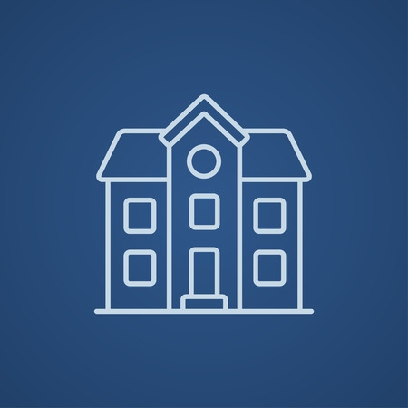 detached: Two storey detached house line icon for web, mobile and infographics. Vector light blue icon isolated on blue background.