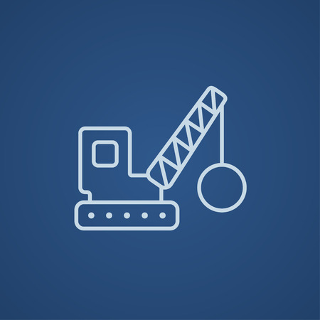 Demolition trailer line icon for web, mobile and infographics. Vector light blue icon isolated on blue background.