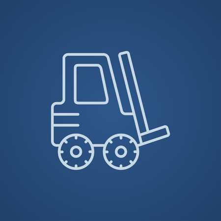 distribution picking up: Forklift line icon for web, mobile and infographics. Vector light blue icon isolated on blue background.