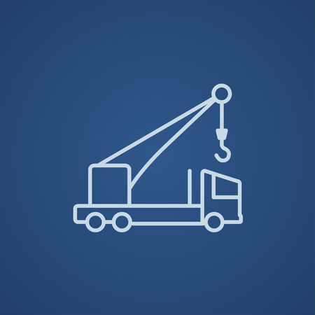 auto hoist: Mobile crane line icon for web, mobile and infographics. Vector light blue icon isolated on blue background. Illustration