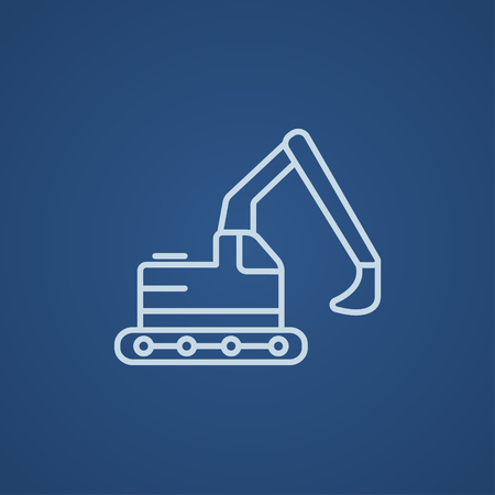 dig up: Excavator line icon for web, mobile and infographics. Vector light blue icon isolated on blue background.
