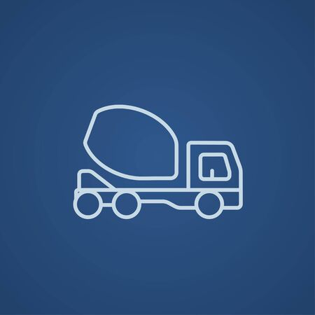 concrete mixer truck: Concrete mixer truck line icon for web, mobile and infographics. Vector light blue icon isolated on blue background.
