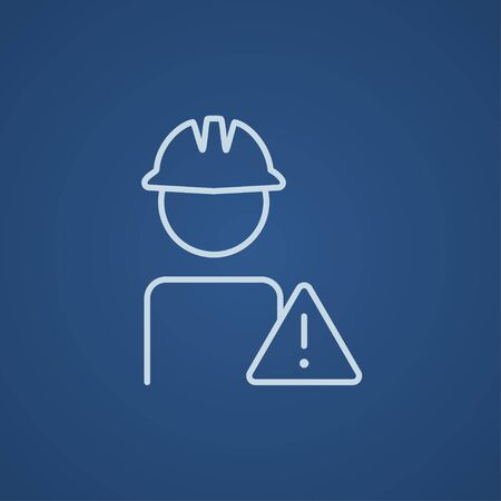 people icon: Worker in hard hat with caution sign line icon for web, mobile and infographics. Vector light blue icon isolated on blue background.