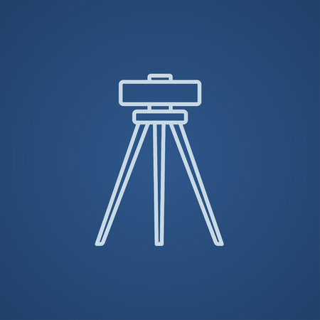 levelling: Theodolite on tripod line icon for web, mobile and infographics. Vector light blue icon isolated on blue background.