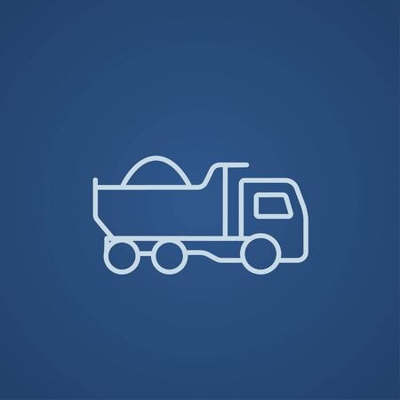 to unload: Dump truck line icon for web, mobile and infographics. Vector light blue icon isolated on blue background. Illustration