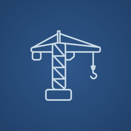 hold high: Construction crane line icon for web, mobile and infographics. Vector light blue icon isolated on blue background.