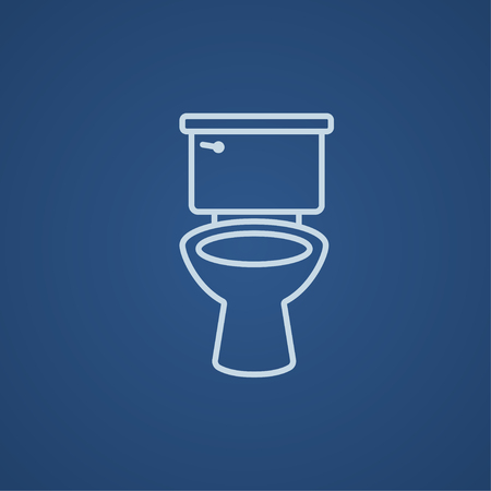 sanitaryware: Lavatory bowl line icon for web, mobile and infographics. Vector light blue icon isolated on blue background. Illustration