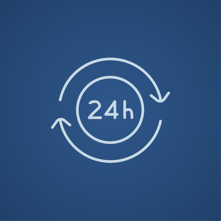 hrs: Service 24 hrs line icon for web, mobile and infographics. Vector light blue icon isolated on blue background. Illustration