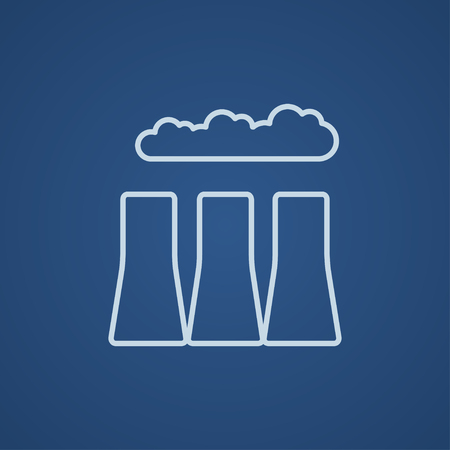 distill: Factory pipes line icon for web, mobile and infographics. Vector light blue icon isolated on blue background. Illustration