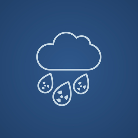 fallout: Radioactive cloud and rain line icon for web, mobile and infographics. Vector light blue icon isolated on blue background. Illustration