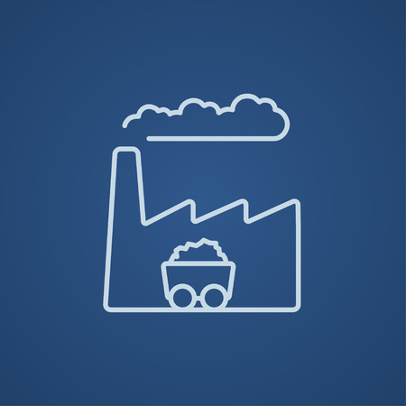 Factory line icon for web, mobile and infographics. Vector light blue icon isolated on blue background. Illustration