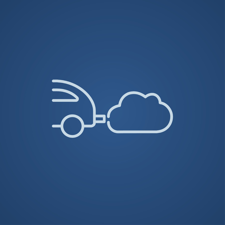 isolated background: Car spewing polluting exhaust line icon for web, mobile and infographics. Vector light blue icon isolated on blue background.