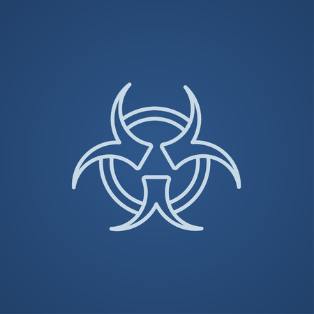 pandemia: Bio hazard sign line icon for web, mobile and infographics. Vector light blue icon isolated on blue background. Illustration