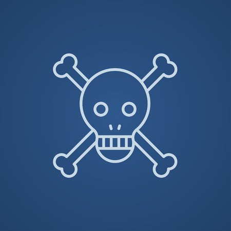 cross bones: Skull and cross bones line icon for web, mobile and infographics. Vector light blue icon isolated on blue background.