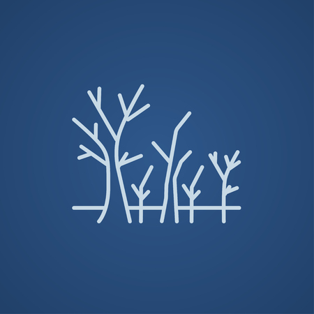 nude outdoors: Tree with bare branches line icon for web, mobile and infographics. Vector light blue icon isolated on blue background. Illustration