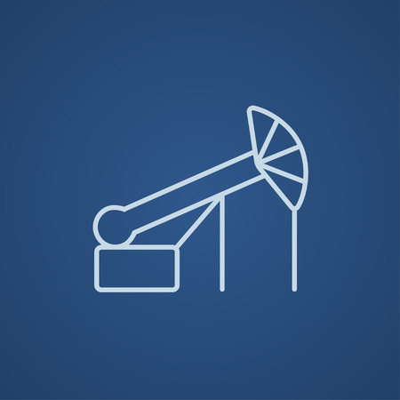 petroleum blue: Pump jack oil crane line icon for web, mobile and infographics. Vector light blue icon isolated on blue background. Illustration
