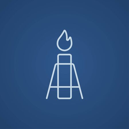 Gas flare line icon for web, mobile and infographics. Vector light blue icon isolated on blue background.