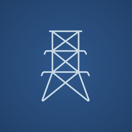 powerlines: Electric tower line icon for web, mobile and infographics. Vector light blue icon isolated on blue background.