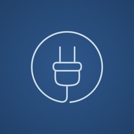 Plug line icon for web, mobile and infographics. Vector light blue icon isolated on blue background. 矢量图像