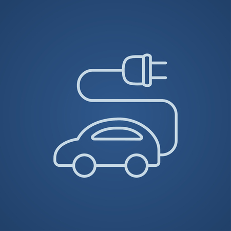 clean energy: Electric car line icon for web, mobile and infographics. Vector light blue icon isolated on blue background.
