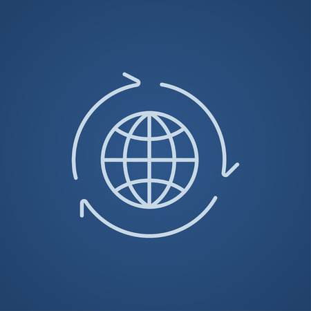 environment friendly: Globe with arrows line icon for web, mobile and infographics. Vector light blue icon isolated on blue background. Illustration