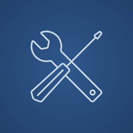 Screwdriver and wrench tools line icon for web, mobile and infographics. Vector light blue icon isolated on blue background. Stock Vector - 49710410