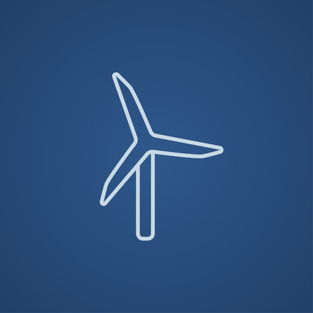 spinning windmill: Windmill line icon for web, mobile and infographics. Vector light blue icon isolated on blue background.