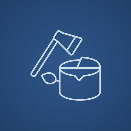 logging: Deforestation line icon for web, mobile and infographics. Vector light blue icon isolated on blue background.