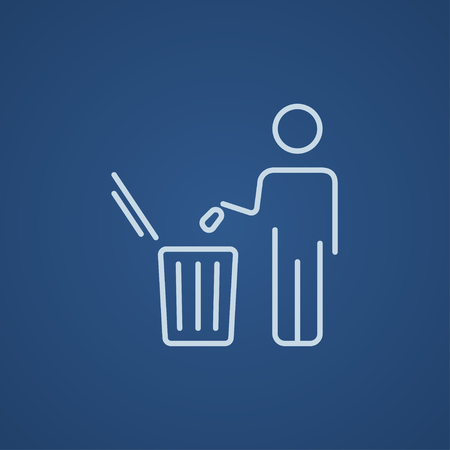 garbage man: Man throwing garbage in a bin line icon for web, mobile and infographics. Vector light blue icon isolated on blue background. Illustration