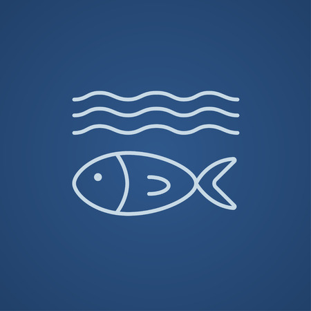 Fish under water line icon for web, mobile and infographics. Vector light blue icon isolated on blue background.