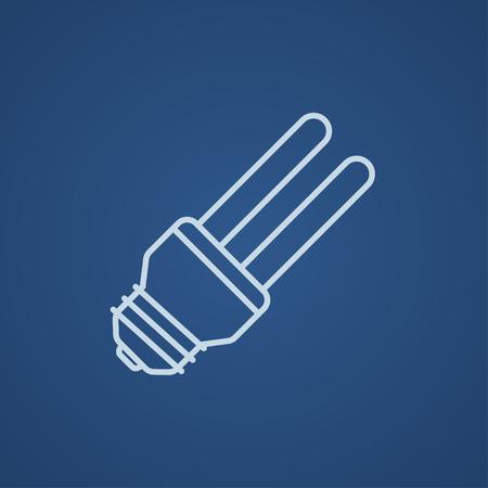 bombillo ahorrador: El ahorro de energía icono de la línea bombilla para web, móvil y la infografía. ligero del vector icono azul aislado sobre fondo azul.
