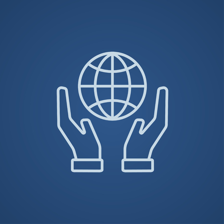 Two hands holding globe line icon for web, mobile and infographics. Vector light blue icon isolated on blue background.