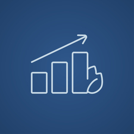onward: Bar graph with leaf line icon for web, mobile and infographics. Vector light blue icon isolated on blue background. Illustration