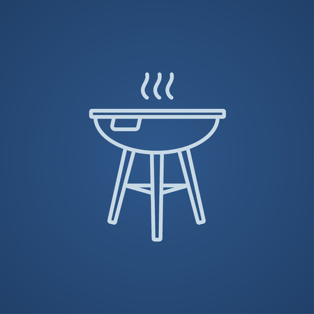 Kettle barbecue grill line icon for web, mobile and infographics. Vector light blue icon isolated on blue background.