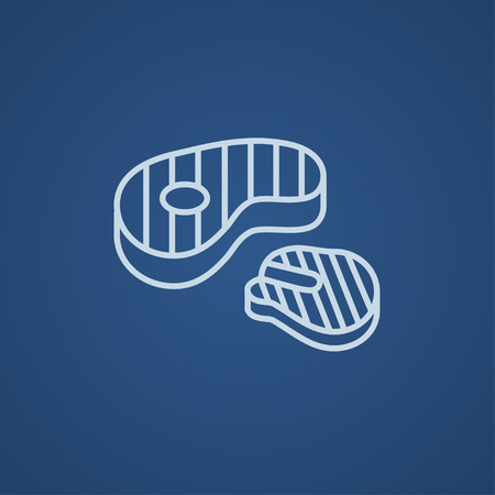 Grilled steak line icon for web, mobile and infographics. Vector light blue icon isolated on blue background.