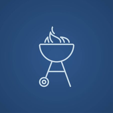 blue flame: Kettle barbecue grill with flame line icon for web, mobile and infographics. Vector light blue icon isolated on blue background.